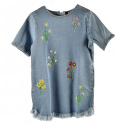 DENIM DRESS WITH FLOWERS EMBROIDERY