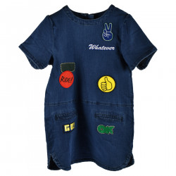 DRESS IN DENIM COLORED PATCHES