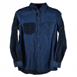 BLUE JEANS SHIRT WITH FRONTAL POCKETS