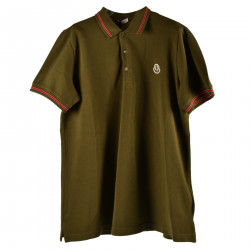 GREEN OLIV POLO WITH RED AND WHITE DETAILS