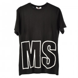 BLACK T SHIRT WITH WHITE EMBROIDERY LOGO