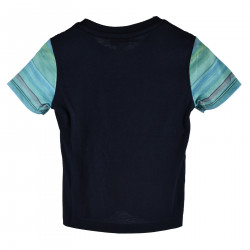 COTTON T SHIRT IN COLORED SHADE OF BLUE STRIPED