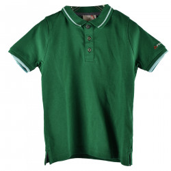 GREEN POLO WITH WHITE INSERT