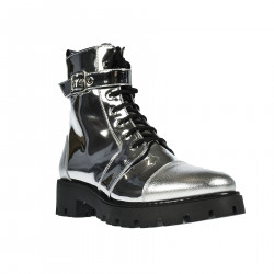 SILVER MIRROR PATENT LEATHER LOW BOOT