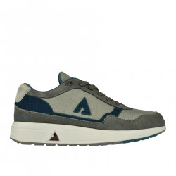 GRAY AND BLUE LEATHER AND FABRIC SNEAKER