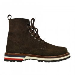 BROWN LEATHER BOOT WITH COLORED OUTSOLE