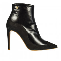 BLACK SUEDE AND LEATHER ANKLE BOOT