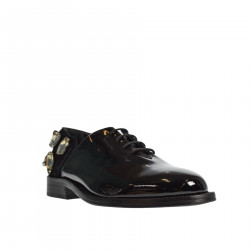 BLACK LACE UP SHOE WITH STONES