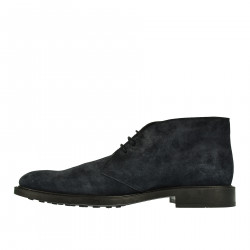 NIGHT BLUE LEATHER ANKLE BOOTS
