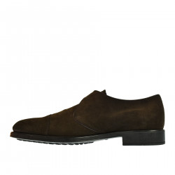 BROWN LEATHER LOAFER WITH FRONTAL BAND