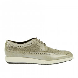 LIGHT GRAY LEATHER TRAFORATED LACE UP SHOE