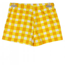 YELLOW AND WHITE SQUARE SHORTS