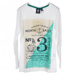 WHITE LONG SLEEVES SHIRT WITH FRONTAL PRINT