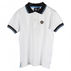 WHITE POLO WITH BLUE DETAILS