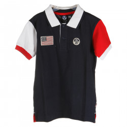 BLUE POLO WITH WHITE AND RED SLEEVES