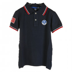 DARCK BLUE POLO WITH RED AND WHITE DETAILS