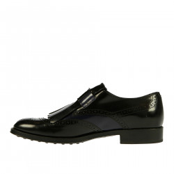 BLUE AND BLACK LEATHER MONK SHOE