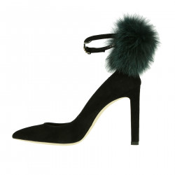 BLACK DECOLLETE WITH FUR INSERTS