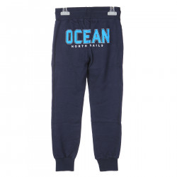 BLUE TRACK SUIT PANTS WITH LIGHT BLUE WRITING