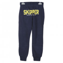 BLUE TRACK SUIT PANTS WITH YELLOW WRITING