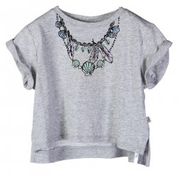 GREY MELANGE T SHIRT WITH SHELLS NECKLACE PRINT