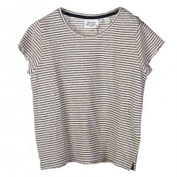 STRIPED COTTON AND LINEN T SHIRT