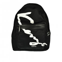 BLACK BACKPACK WITH WHITE WRITTEN