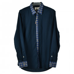 BLUE SHIRT WITH CHECKED INSERT