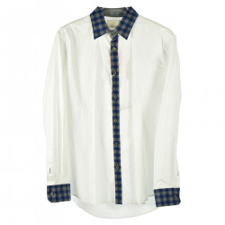 WHITE SHIRT WITH CHECKED INSERT