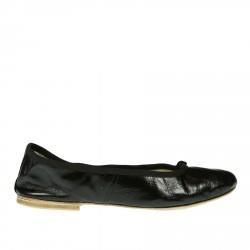 BLACK LEATHER BALLET FLATS