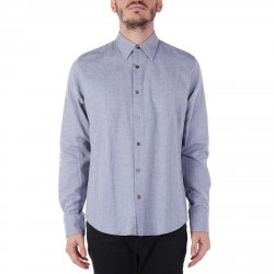 BLUE MELANGE SHIRT WITH CONTRASTING BUTTONS