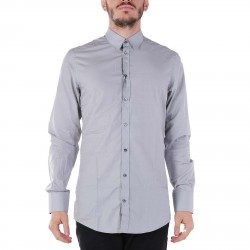 GREY SHIRT WITH CONTRASTING BUTTONS