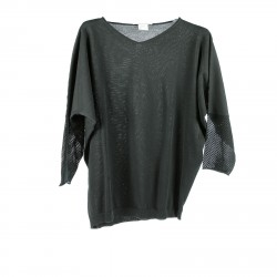 BLACK SWEATER WITH PERFORATED SLEEVES