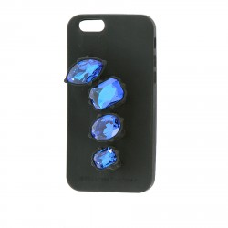 BLACK COVER I PHONE 6 WITH BLUE RHINESTONES