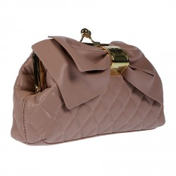 PINK QUILTED CLUTCH WITH RIBBON