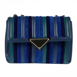 BORSA A MANO BLU MULTICOLOR IN PELLE