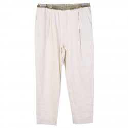 LIME PANTS WITH GOLDEN WAISTBAND