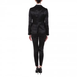BLACK LINEN AND SILK TAILLEUR