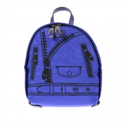 BLUE BACKPACK WITH EMBROIDERY DESIGN