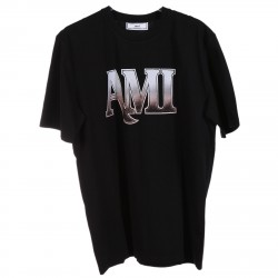 BLACK T SHIRT WITH FRONT PRINTED BRAND LOGO