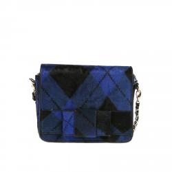 BLUE AND BLACK PONY SHOULDER BAG