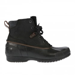 BLACK LEATHER AND RUBBER LOW BOOT