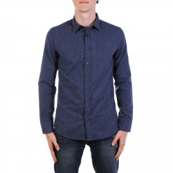 BLUE MICRO PATTERNED SHIRT