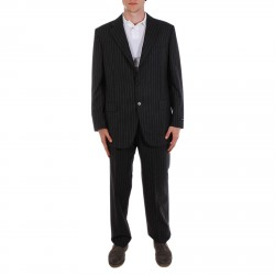 GREY PINSTRIPED SUIT WITH LAPEL COLLAR