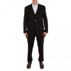 BROWN SUIT WITH LAPEL COLLAR