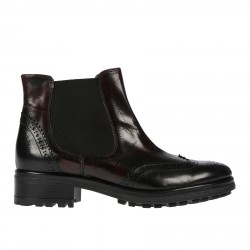 BLACK AND BORDEAUX LEATHER DESERT BOOT