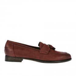 BORDEAUX LEATHER LOAFER WITH TASSELS