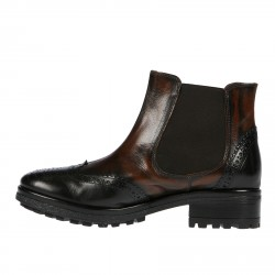 BLACK AND BROWN LEATHER DESERT BOOT