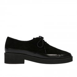 BLACK POINTED LACE UP SHOE