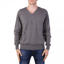 GREY PULLOVER WITH V COLLAR